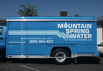 Mountain Spring Water truck vinyl